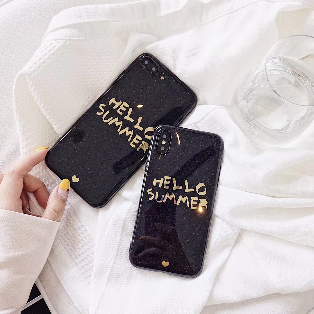 Apple X generation bronzing hello summer iPhone6/7/8plus hot stamping letters all-inclusive couple anti-fall mobile phone shell