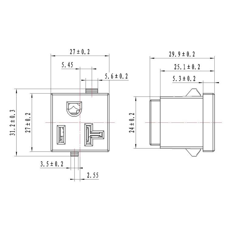 嵌入式美式电源插座 美标20A卡式插座 专配电器/发电机/机器设备