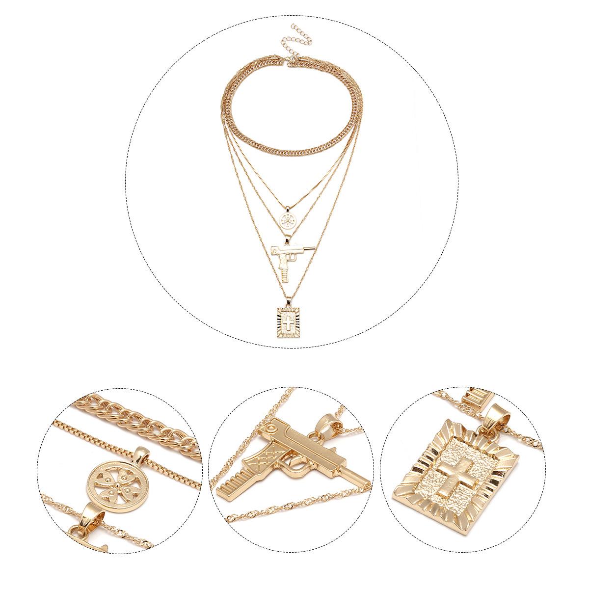 Alloy Fashion Geometric necklace(Golden) NHXR2263-Golden
