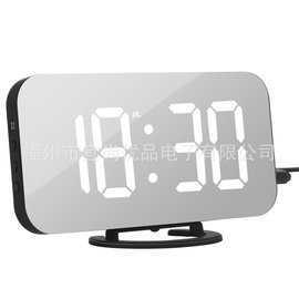 New creative mobile phone charging mirror electronic snooze alarm clock LED display hotel clock