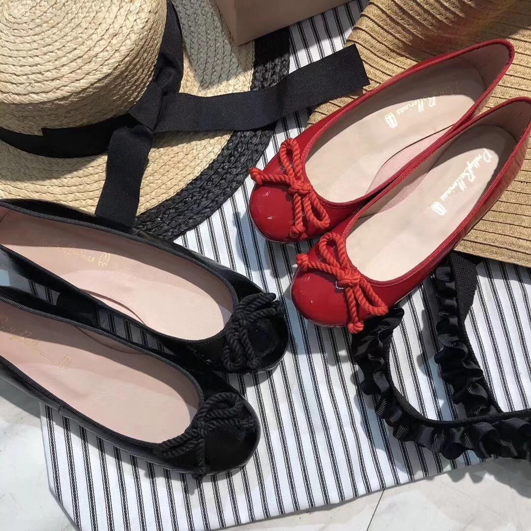 外贸原单 颜色超正平底手工小红鞋 蝴蝶结芭蕾平底舞鞋早春漆皮鞋
