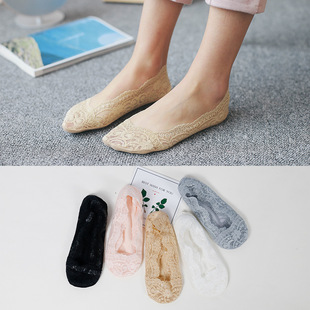 A весна новый сезон носки мисс низкий мелкий рот кружево хитрость Носки силикагель анти - соскальзывать твердый хлопок конец носки