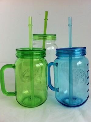 热销小号单层塑料梅森罐、单层塑料吸管杯、果汁杯、糖果罐