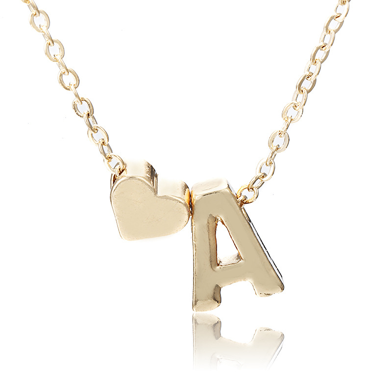 Heart-shaped 26 Letter alloy necklace NHPF151514