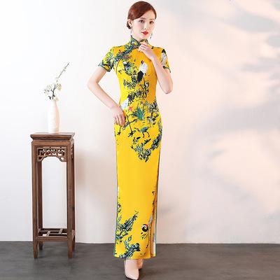 Cheongsam dress retro cheongsam large size show show etiquette dress