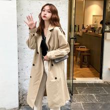 东南亚2018秋冬韩版学院风中长款宽松风衣学生外套女装
