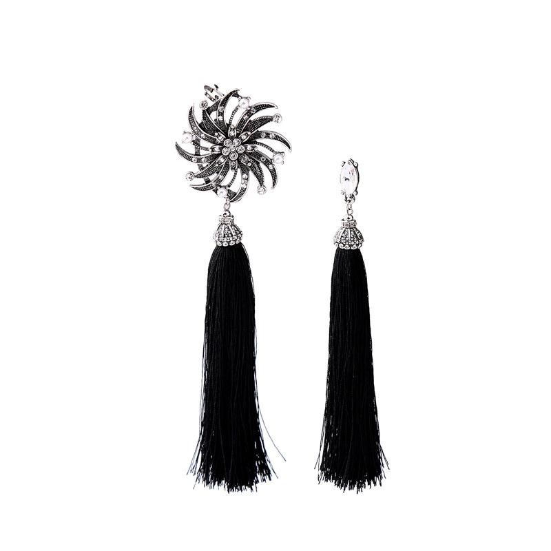 Alloy Fashion Tassel earring(Black-1) NHQD5089-Black-1