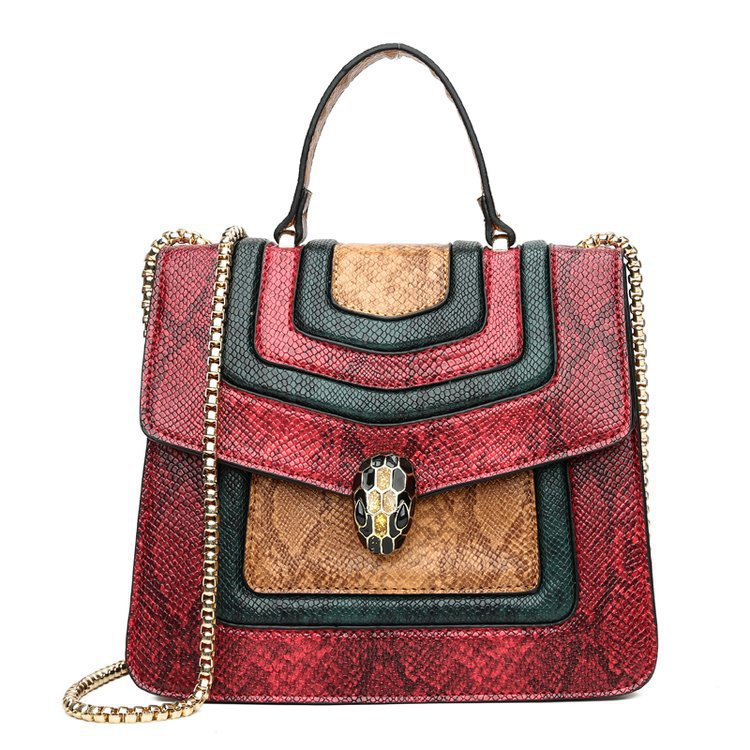 Cross-border Explosions Snake Head Pattern Hit Color New 2019 Europe And Large Capacity Single Shoulder Slung Mobile Handbags Wholesale Generation