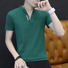 韩版夏装男士T血修身V领印花潮男立领短袖t恤男装体恤衫厂家直销