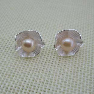 S925 sterling silver natural freshwater pearl lotus earrings small fresh literary silver earrings wholesale