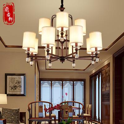 现代新中式吊灯复古大气客厅吊灯创意卧室灯酒店仿古铁艺中式灯具