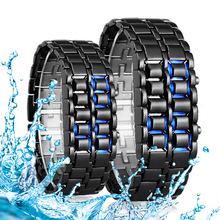 A2018制造供应商直销现货熔岩红灯精美LED韩国尚情侣创意个性手表