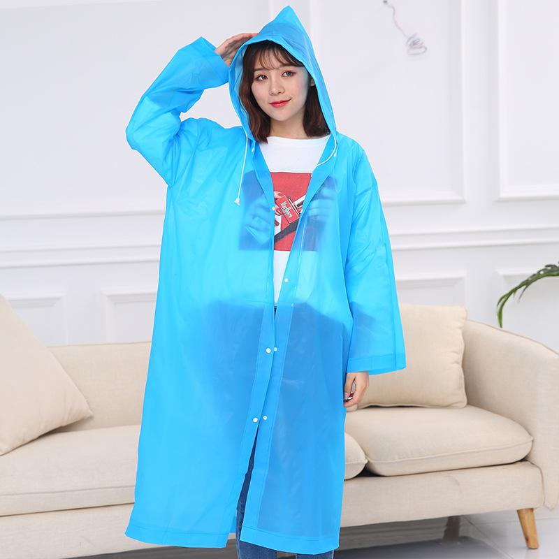 旅行便携式peva磨砂非一次性雨衣成人加厚男女骑行户外登山雨披长