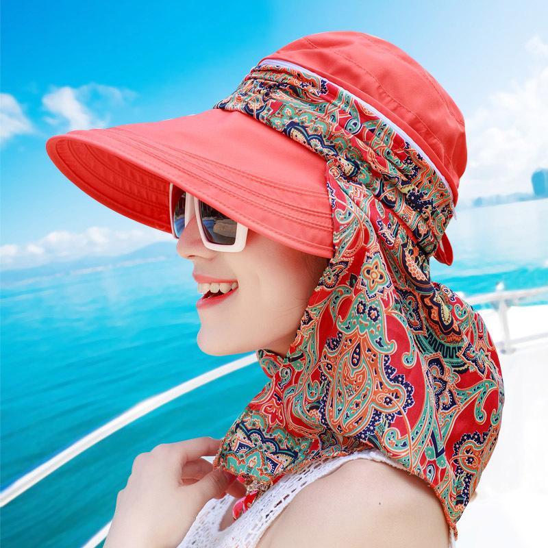 户外骑行遮阳帽夏季 女士 帽子 夏天大沿防晒帽沙滩帽韩版太阳帽