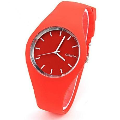 Siêu mỏng Geneva geneva kẹo màu silicone đồng hồ thạch silicon đồng hồ geneva đồng hồ