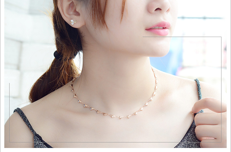 Love titanium steel small heart rose alloy necklace NHOK129969