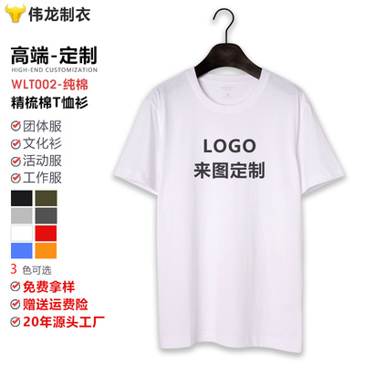 Weilong Mens Cotton T-shirt with Round Collar Custom Printed Logo Advertising Culture Activity Class Clothing Short Sleeve T-shirt