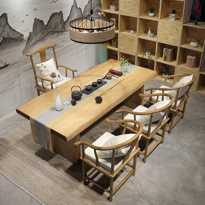 北欧工业风全实木大板茶桌 茶餐厅茶几茶桌 办公室泡茶功夫桌椅