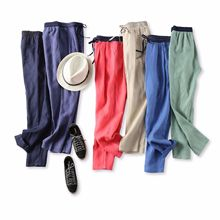 18 summer new products summer weapon!Cool and breathable, contrast color waist, elastic waist, linen, casual tapered pants, female