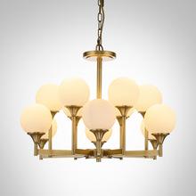 美式吊灯全铜客厅灯现代简约欧式乡村黄铜灯具创意个性卧室餐厅灯