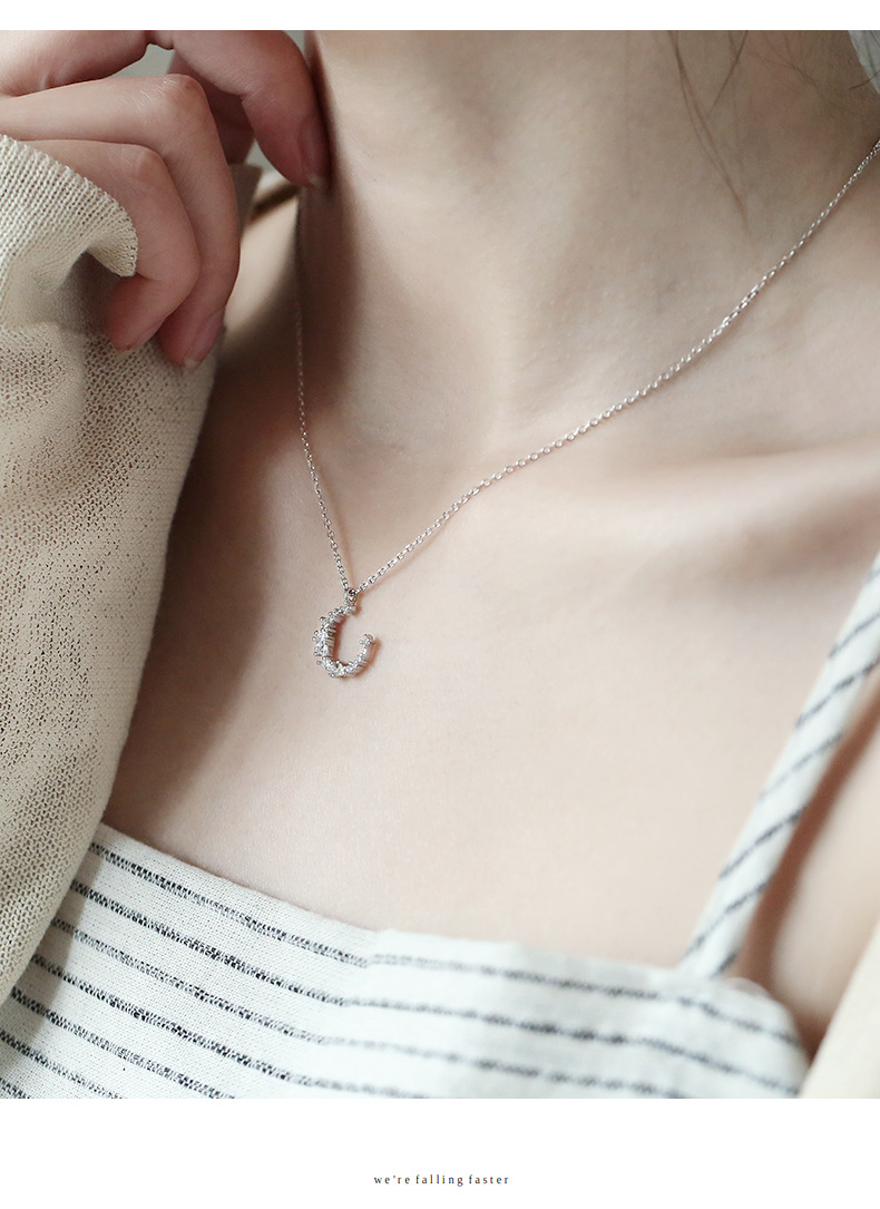 Crescent temperament moon silver necklace clavicle chain wild NHCU186585
