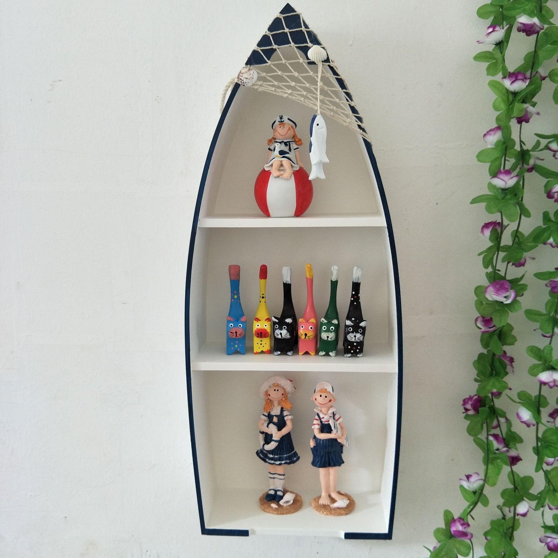 地中海風格木制船型壁掛船柜收納盒裝飾柜家居書房掛件幼兒園裝飾