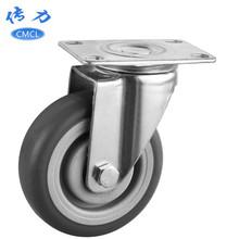 廠家直銷4寸tpr萬向腳輪灰色雙軸靜音耐磨輪子直徑100mm醫療腳輪