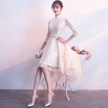 晚礼服2018新款立领长袖改良旗袍长短款中式年会礼服女伴娘服秋冬