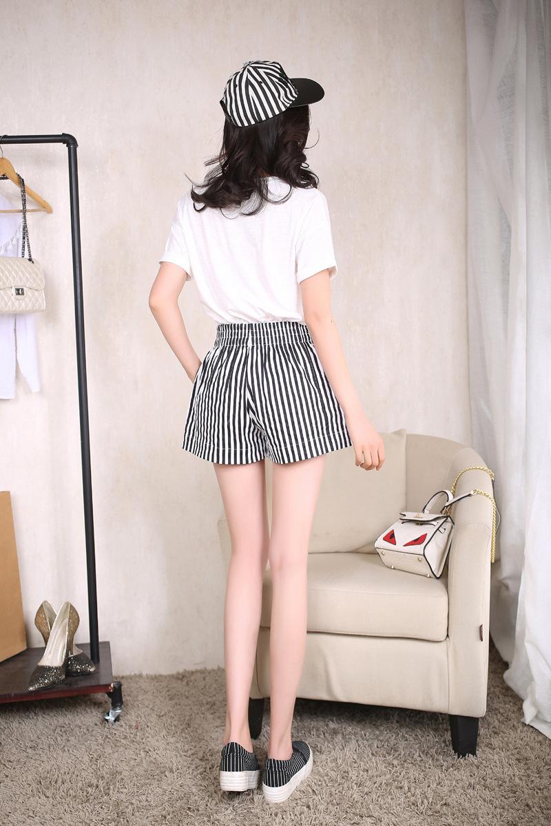 8778744924 1819376908 - Summer Mid Waist Elastic Striped Shorts