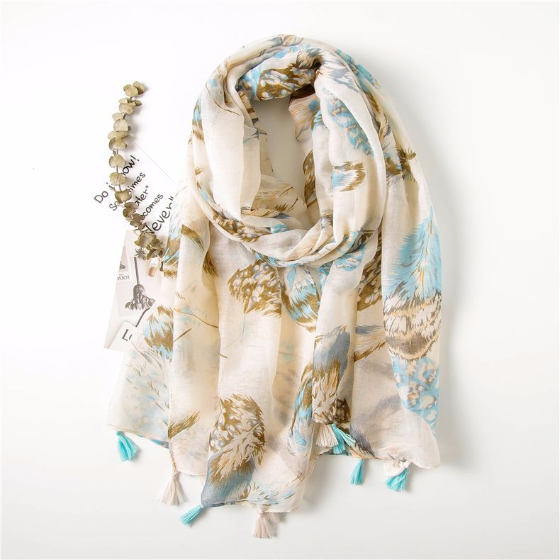 Summer new national style feather tassel scarf beach towel cotton and linen shawl scarf dual-purpose scarf NHGD199220