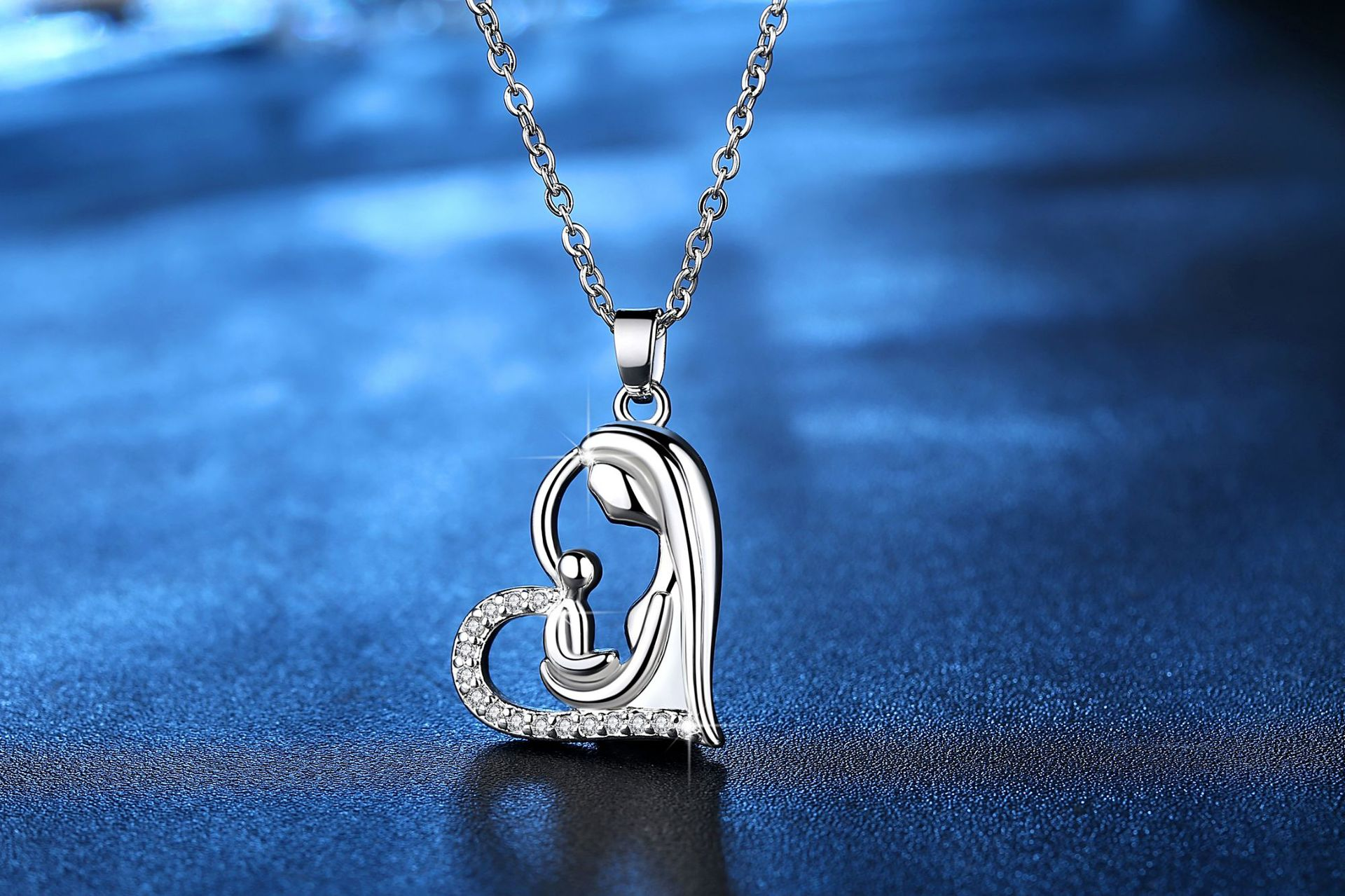New fashion mother and child pendant heart-shaped clavicle chain silver necklace mother's day necklace wholesale NHKN208033