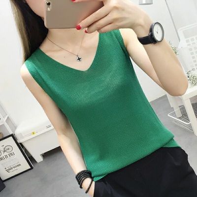 Spring and Summer of 2019 New Womens Wearing Knitted Loose vest, Bottom Shirt, Large Size Sleeveless Top