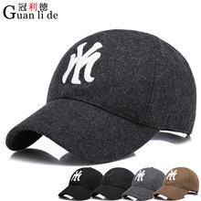 新款男女士冬季时尚户外韩版休闲鸭舌帽毛呢刺绣字母百搭棒球帽子