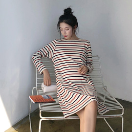 Spring and Autumn pregnant Women's Wear Fashion Japanese striped pregnant Women's skirt loose large size dress long-sleeved shirt with Tide Mom
