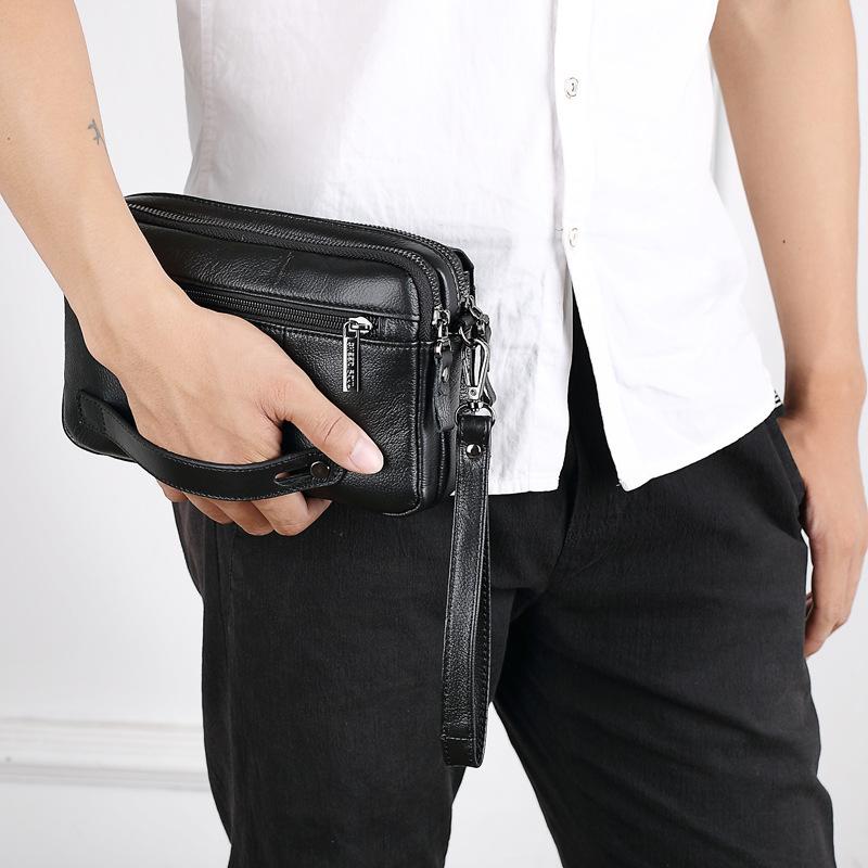 carteira couro real pulso dinheiro sacos primeira