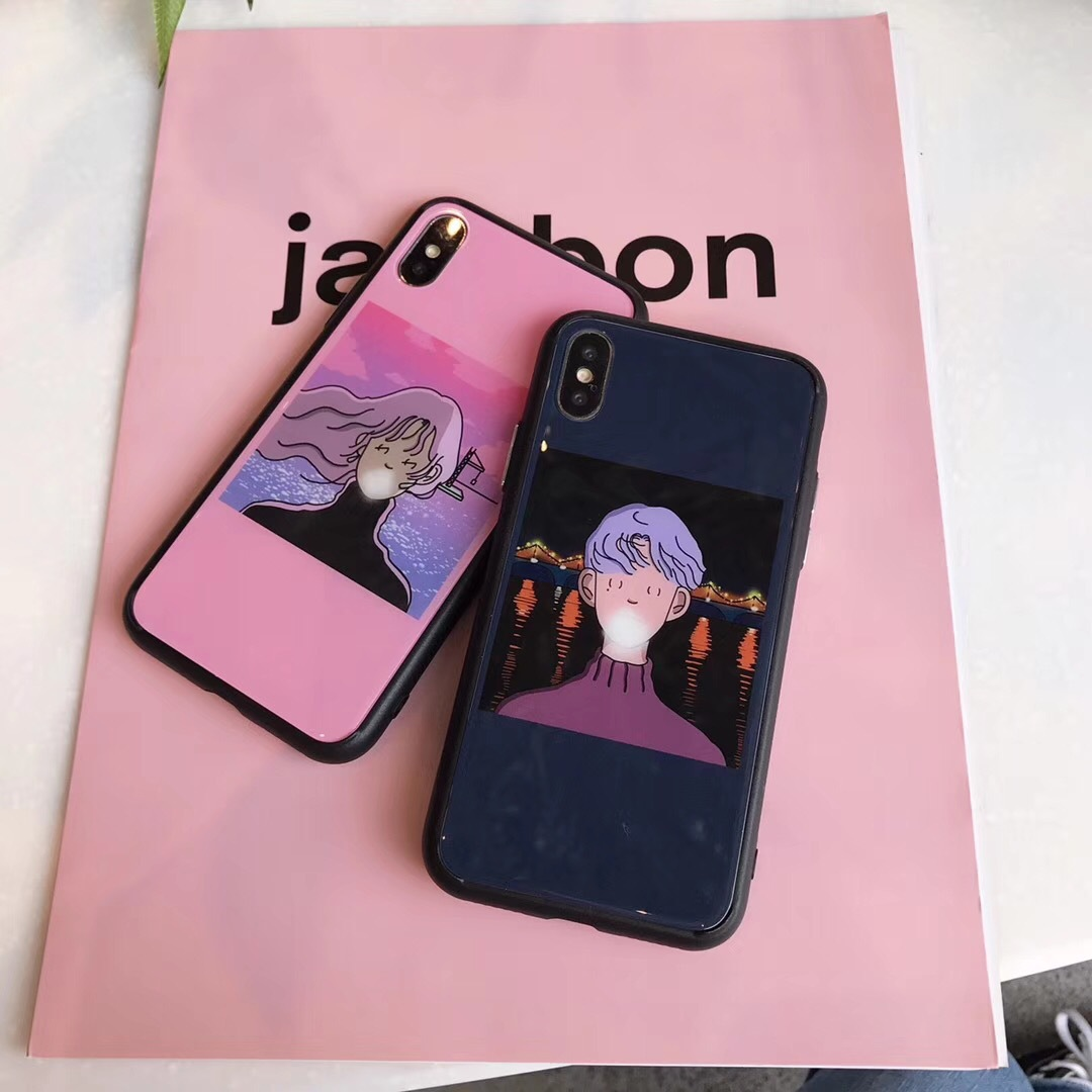 European and American illustration blowing bubble boy girl mobile phone shell apple x / ipone8plus / apple 7p / 6s couple models