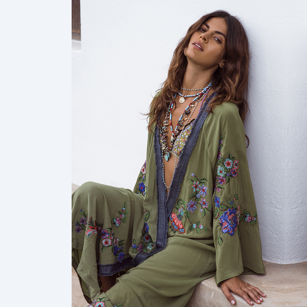 2019 spring new women's clothing European and American embroidery cardigan long skirt women's Embroidery long sleeve dress wholesale