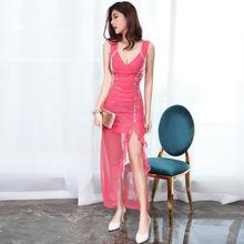 夜店性感连衣裙2018新款修身显瘦低胸晚礼服长款夜场女装露背长裙