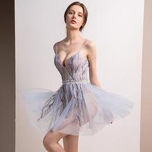 2018夏季新款网纱低胸露背可爱仙女浪漫蓬蓬裙小礼服派对短款短裙