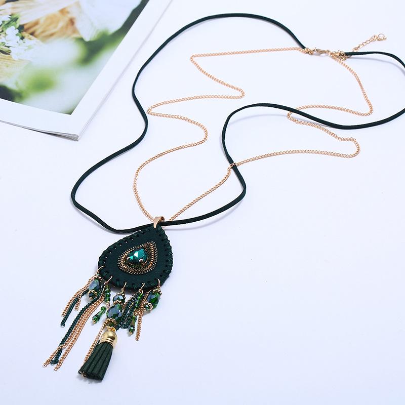 Alloy Fashion Geometric necklace  (green) NHPK2057-green