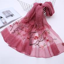 春秋冬季新款真丝羊毛刺绣长围巾女士百搭两用寺披肩高档丝巾批发