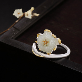 One deer silver S925 pure silver natural Hetian jade white jade inlaid lotus personality temperament lady's open ring ring