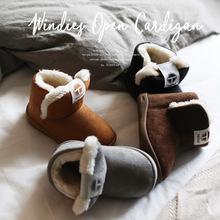 Mùa đông trẻ em mới đi giày tuyết da lộn cho trẻ em Giày bông dày lông mềm đáy giày bé bông màu sắc tiên tiến Giày cao cổ