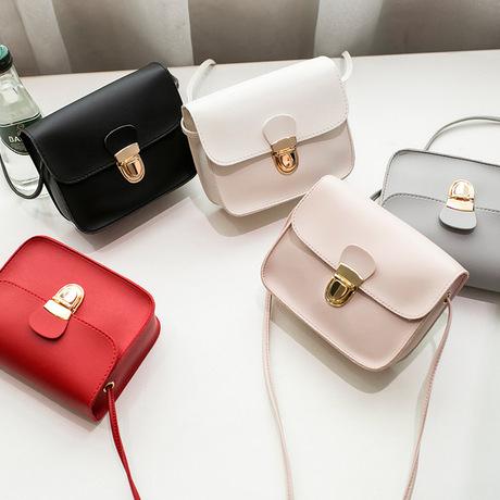 Túi đeo vai Nhật Bản và Hàn Quốc mới đơn giản, thời trang mini túi vuông khóa nhỏ