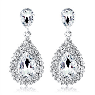 Fashionable and exquisite cross-border exclusively for popular earrings jewelry wholesale alloy diamond-studded exaggerated atmospheric drop earrings