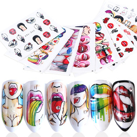 Hot 9 American art nail art watermark applique sexy lips cool girl nail sticker set