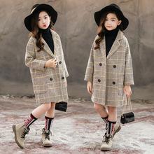 兒童裝秋冬格子時髦毛呢冬裝大衣外套中大童女孩新款秋冬休閑童裝