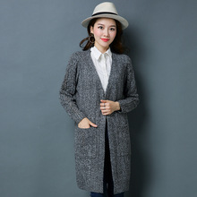 2018品牌秋冬季新款毛衣外套中长款韩版宽松加厚女士针织羊毛开衫