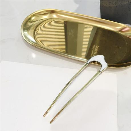 Nhật Bản ins gió tấm kim loại kẹp tóc tối giản khí chất đơn giản hình chữ u kẹp tóc đầu bóng đầu bọ cạp pin