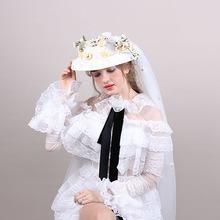 韩式手工头纱礼帽 长款网纱森女新娘婚纱礼帽 婚纱摄影头饰厂家批